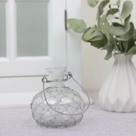 Vas/ljusstake Romance med nät 9,5 cm , hemmetshjarta.se