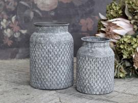 Kruka med mönster Järn H14 / Ø10,5 cm antikt zink 1 st , hemmetshjarta.se
