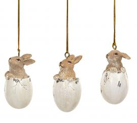Kaniner i ägg Häng Poly Mix 6cm 3-pack , hemmetshjarta.se