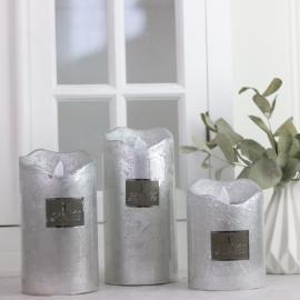 Batteridrivet blockljus med timer silver 11 cm , hemmetshjarta.se
