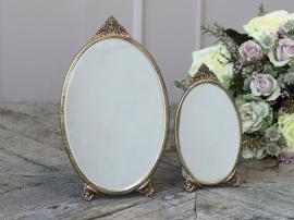 Spegel med dekor oval H26 / L15.5 / B0,5 cm antik mässing 1 st , hemmetshjarta.se