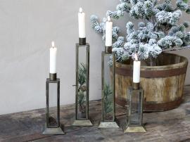 Ljusstake för kyrkljus H27 / L6,5 / B6,5 cm antik mässing 1 st , hemmetshjarta.se