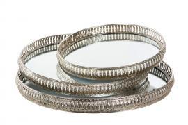 Bricka Spegel Rund Silver 44x6cm 3-pack , hemmetshjarta.se
