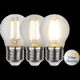 LED-Lampa E27 Ø45 Dim 3-step lm470/40w Clear , hemmetshjarta.se