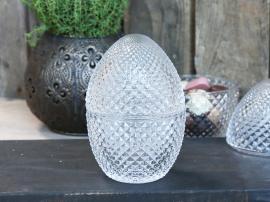 Glasägg med lock H14,5 / Ø9,5 cm klart , hemmetshjarta.se