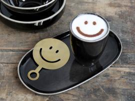 Vecka 40 Kaffestencil Smiley L12,5 / B8,5 cm mässing , hemmetshjarta.se