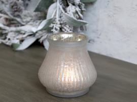 Värmeljushållare Glas H10 / Ø7,5 cm antik vit , hemmetshjarta.se