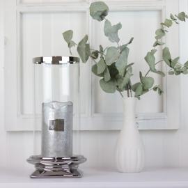 Ljuslykta med glas Lyx silver 29,5 cm , hemmetshjarta.se