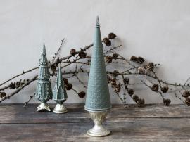 Vecka 44 Julgran med glitter dekoration H35 / Ø8 cm mossgrön 1 st , hemmetshjarta.se