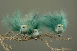 Fågel/Clip Fjäder Grönblå Mix 9cm 3-pack , hemmetshjarta.se