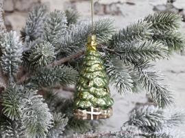 Julgran med paket för upphängning H11,5 / Ø5,5 cm antik grön 4-pack , hemmetshjarta.se
