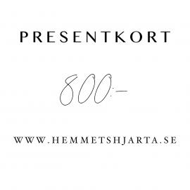 Presentkort - 800:- sek , hemmetshjarta.se