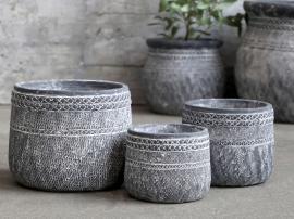 Cholet Kruka med mönster Cement H16 / Ø20 cm antikt svart 1 st , hemmetshjarta.se