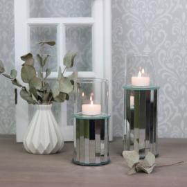 Ljusstake med glascylinder Spegel 17 cm , hemmetshjarta.se