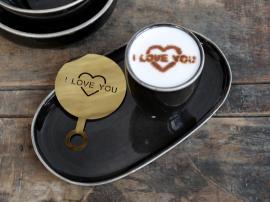 Vecka 40 Kaffestensil I Love You L12,5 / B8,5 cm mässing , hemmetshjarta.se