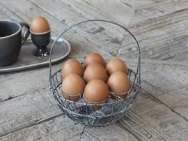 Korg för 7 ägg H22 / Ø18 cm antik zink , hemmetshjarta.se
