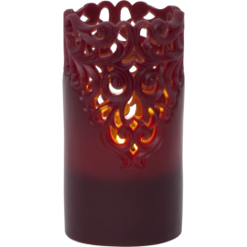 Batteridriven Blockljus LED Clary Röd 8x15cm , hemmetshjarta.se