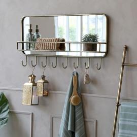 Spegel med hylla och 8 krokar H44.5 / L87 / W12 cm antik mässing , hemmetshjarta.se