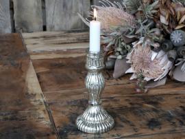 Ljusstake Glas H16,5 / Ø8 cm antikt silver , hemmetshjarta.se