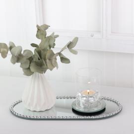 Ljusfat spegel med pärlkant 30x14 cm , hemmetshjarta.se