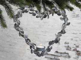 Vecka 44 Krans hjärta för värmeljus med upphängning H27/L27/B4,5 cm antikt zink , hemmetshjarta.se