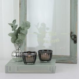 Värmeljushållare med pärlkant H4,5 / Ø6 cm mörkgrå , hemmetshjarta.se