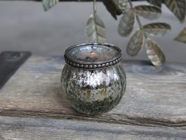 Värmeljushållare med pärlkant H5,5 / Ø6,5 cm antik silver , hemmetshjarta.se
