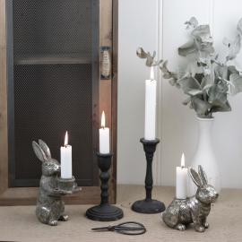 Ljusstake Hare 14 cm - antiksilver , hemmetshjarta.se