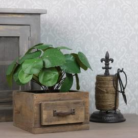 Låda med beslag 20x19x12 cm - brun , hemmetshjarta.se