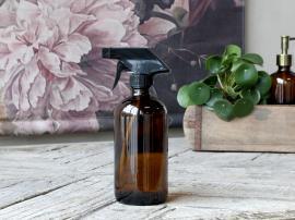 Flaska med spraykork 480 ml. H21 / Ø7,5 cm mocka , hemmetshjarta.se