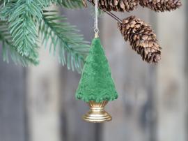 Julgran på fot för hängande velour H9,5 / Ø4,5 cm mossa 4-pack , hemmetshjarta.se