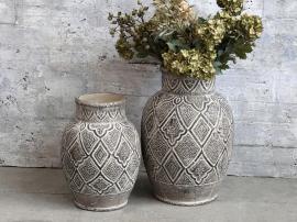 Vecka 40 Évron vas med mönster för deco H31 / Ø21,5 cm mörk natur , hemmetshjarta.se