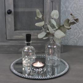 Ljusfat spegel med pärlkant 25 cm , hemmetshjarta.se