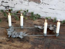 Vecka 44 Adventsljusstake med kottar för Kyrkljus H4 / L42 / W16 cm antikt zink , hemmetshjarta.se