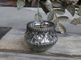 Värmeljushållare med dekorativ kant H6 / Ø7,5 cm antik silver , hemmetshjarta.se