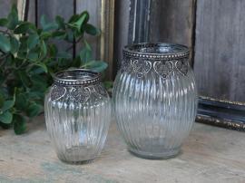 Vas med silverdekoration H14 / Ø11 cm klar , hemmetshjarta.se