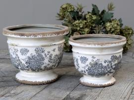 Melun Kruka med franskt mönster Keramik H16,5 / Ø20 cm opal 1 st , hemmetshjarta.se