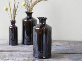 Gl. Fransk flaska H19 / Ø9 cm antik mocca , hemmetshjarta.se