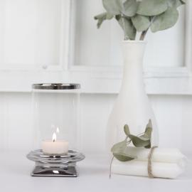 Ljuslykta med glas Lyx silver 13 cm , hemmetshjarta.se