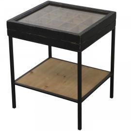 Vecka 21 Soffbord med förvaringsutrymme H53 / L41 / B 44,5 cm antik svart , hemmetshjarta.se