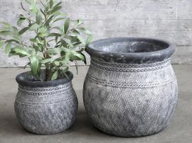 Cholet Kruka med mönster Cement H29 / Ø32 cm antikt svart 1 st , hemmetshjarta.se