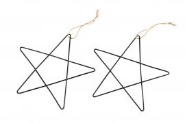 Stjärna/Metall Svart 15x15cm 2-pack , hemmetshjarta.se