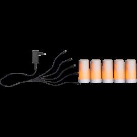 Batteridriven Blockljus LED Diner Vit Startpaket Vit 5st 13cm , hemmetshjarta.se