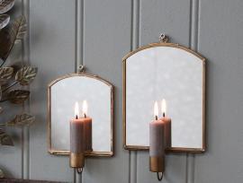 Ljusstake till vägg med spegel H15.5 / L10 / W3 cm antik mässing 1 st , hemmetshjarta.se