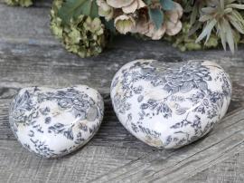 Melun Hjärta med franskt mönster Keramik H4,5 / L8,5 / B8,5 cm mörkblått 1 st , hemmetshjarta.se