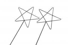 Stjärna/Metall Stick Svart 10x20cm 2-pack , hemmetshjarta.se