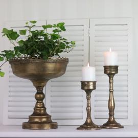 Kruka Pokal med mönstrad kant 30 cm - antikbrun , hemmetshjarta.se