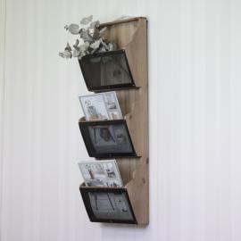 Tidningshållare med 3 fack H91 / L30 / D15 cm natur , hemmetshjarta.se