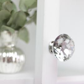 Knopp Diamant med flat topp 6x4 cm - glas , hemmetshjarta.se