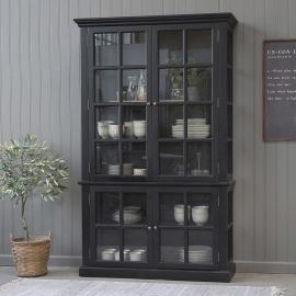 Vecka 26 Vitrinskåp med 4 dörrar / hyllor H196 / L120 / B40 cm svart , hemmetshjarta.se